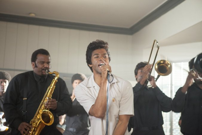 "James Brown (as played by Chadwick Boseman) becomes the Godfather of Funk in ""Get On Up.""James Brown (as played by Chadwick Boseman) becomes the Godfather of Funk in ""Get On Up."""