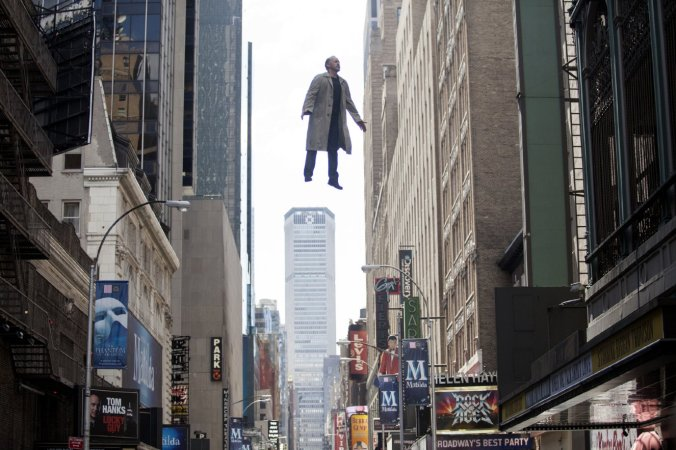 "He's flying, high above the streets of New York and loving every minute of it in ""Birdman."""